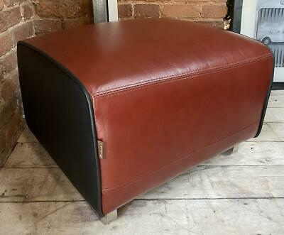 Leather & Chrome Ottoman Footstool - Art Deco / Streamlined Modern 1930s Styling