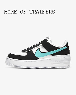Nike Air Force 1 Shadow White Black Aurora Girls Women's Trainers All Sizes