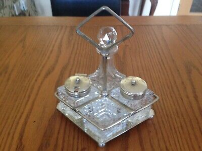 Antique/Vintage Silver Plated Cruet 4 Piece Condiment Set  And Stand