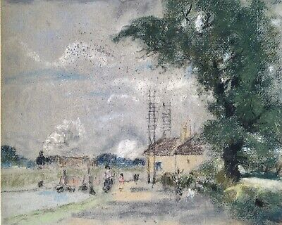 Original Late 19th Century Antique Pastel Drawing | Steam Train & Canal