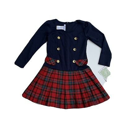 Girls NWT Bonnie Jean Navy & Red Plaid long sleeve school girl dress size 6