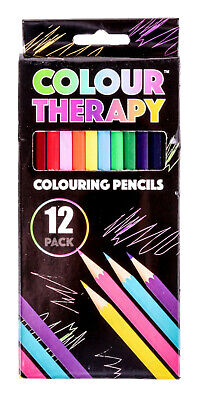 Pack of 12 Colour Therapy Metallic Colouring Pencils Sharpened Anti Stress Art
