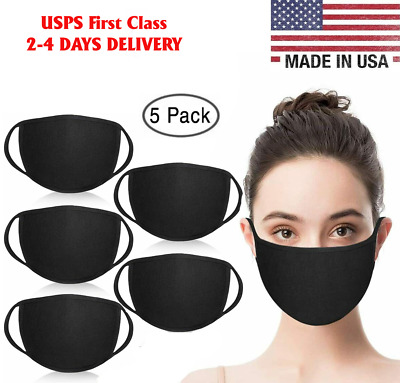Washable Cotton Face Mask Black Double Layers Reusable 5 Pack, Ship From USA!!!