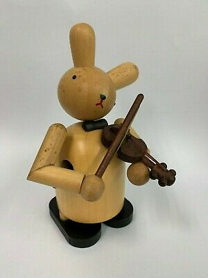 Vintage Japanese Bunny Rabbit Doll Wooden Violin Movement Musical Box Carve Cute