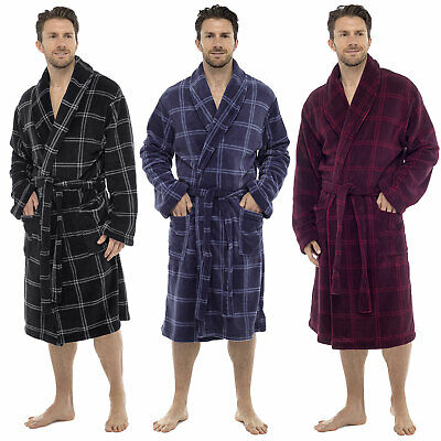 Tom Franks Supersoft Coral Fleece Check Dressing Gown