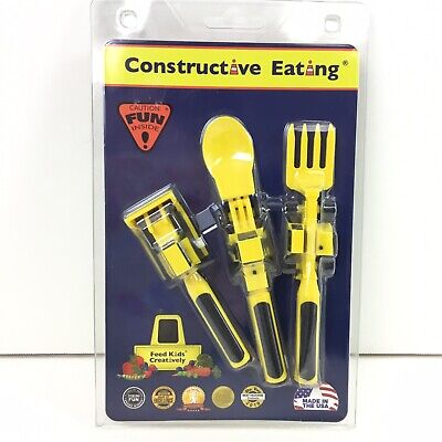 Constructive Eating Set of 3 Construction Utensils Fork Spoon Food Pusher USA