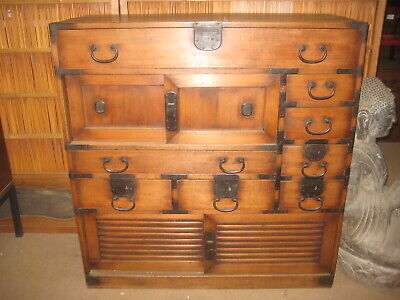 Antique Japanese 12 Drawer 4-Door Edo Era (C. 1850) Document Tansu Chest