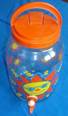 Sun Tea Jar 1 Gallon Glass Large Sun Red Yellow Blue