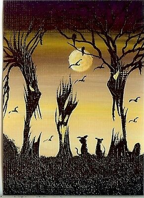 PRINT of ACEO GLOSSY Witches Cauldron Spooky Forest Halloween Ravens PRINT HYMES
