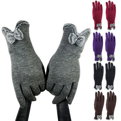 DI- FP- Women Winter Touch Screen Gloves Outdoor Velvet Warm Lined Bow Mittens N