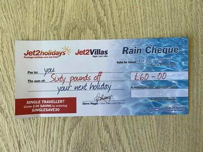 2 x JET2Holidays £60 Rain Cheque Raincheque Vouchers **MOST UP TO DATE CODES!**