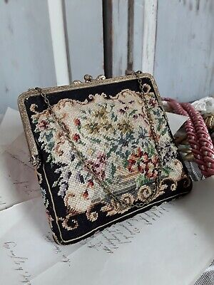 Antike ABENDTASCHE mit Petit point- Stickerei