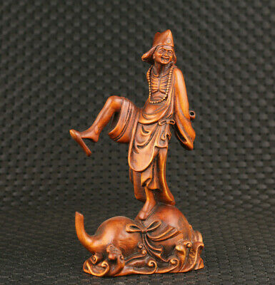 chinese old boxwood hand carved ji gong buddha good stand statue