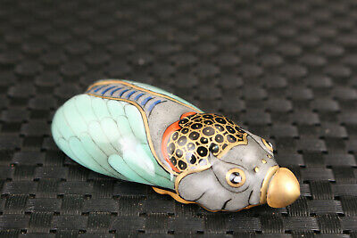 collectable art antique Chinese old porcelain  hand carved cicada  snuff bottle