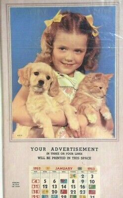 Vintage Girl with Dog and Cat  Advertising Calendar  1953