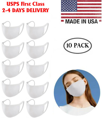 Washable Cotton Face Mask White Double Layers Reusable 10 Pack, Ship From USA!!!