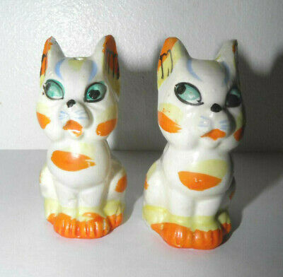 Vintage Cat Salt & Pepper Shakers Calico Animals Big Eyes Made in Japan