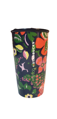 Starbucks Ban.do Navy Floral 12oz Ceramic Double-Wall Travel Coffee Tumbler NEW