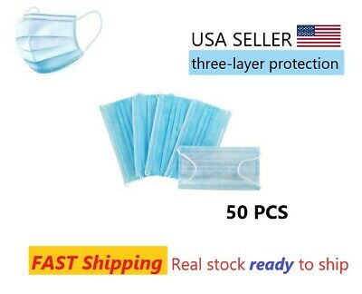 1 Pack of Disposable Earloop Masks 3-Ply Blue 50/PK Ready to Ship U.S. Stock