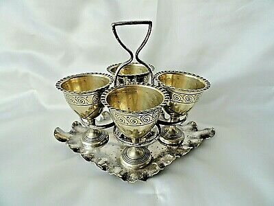 Vintage Silver Plated  4 Egg Cups and holder / Stand