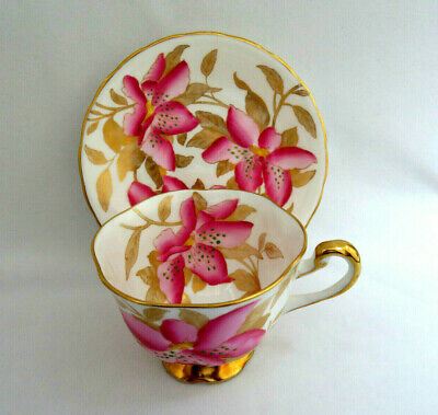 Royal Chelsea England Bone China Pink Tiger Lily Floral Cup & Saucer