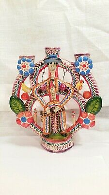 Vintage Mexican Pottery Folk Art Tree of Life Day of the Dead Candle Holder #2
