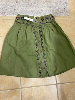 BRAND NEW Dark green Anthropologie size2 made in India skirt never worn with tag