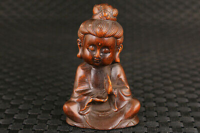 chinese old boxwood hand carved kwan-yin buddha statue netsuke collectable