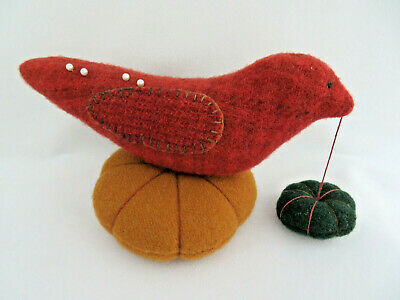 Vintage Wool Bird Pin Cushion
