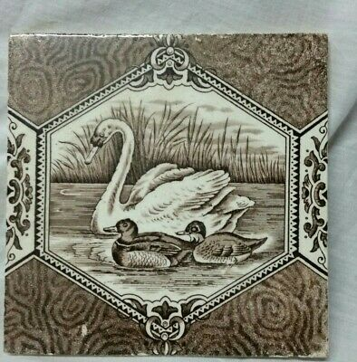 Original Antique/ Vintage Sepia Brown And White Ceramic Tile