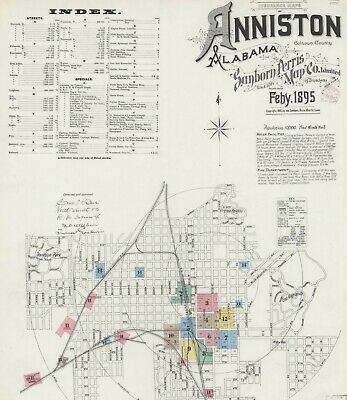 Anniston, Alabama Sanborn Map© sheets made 1885 to 1900 on a CD~ 58 maps