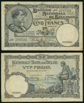 Currency 1938 Belgium 5 Francs Banknote P108 King Albert and Queen Elisabeth VF