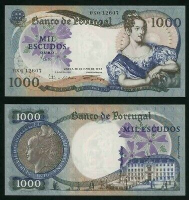 19 May 1967 Portugal 1000 Escudos Banknote Queen Maria II P# 172a Extremely Fine