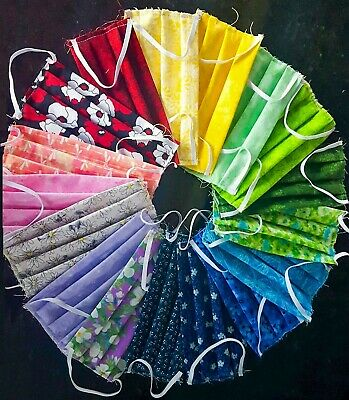 """Quality Handmade Double Layer Cotton Face Mask w/ 1/4"""" Elastic Washable Reusable"""
