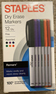 Staples Remarx Dry Erase Markers Fine Point Assorted 12/Pack 29209