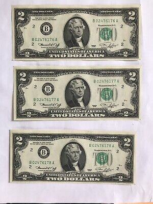 3 New Uncirculated Crisp $2 Notes Two Dollar Bill Consecutive Serial Number 1976
