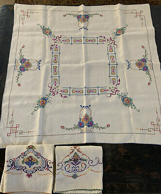 Vintage Victorian  Table Centerpiece - Cross Stitch Embroidered Linen Hand Made