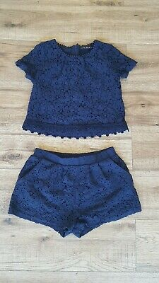 Next Girls Navy Blue Lace Matching Shorts And Top Outfit Age 8 Years (7-8 Years)
