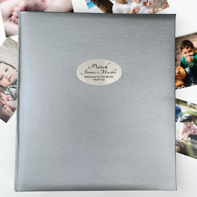 Baby Personalised Photo Album Quote 500 Silver - Personalised Custom Gift