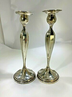 Art Deco Fred Hirsch Pair Of Sterling Silver Candlesticks Marked