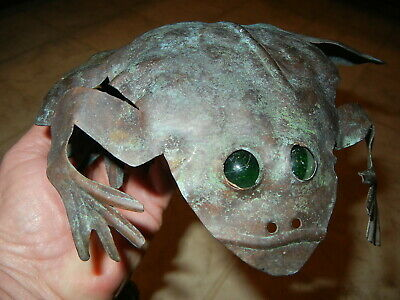 vintage Handcrafted Copper Garden FROG with Green MARBLE Eyes - Arts & Crafts