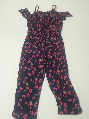 Girls Child's Next Blue & Pink Cold Shoulder Jumpsuit Age 6 Years