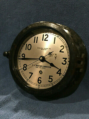 **Restored** 1953  US MARITIME COMMISSION Chelsea Ships Clock Serial No. 588116
