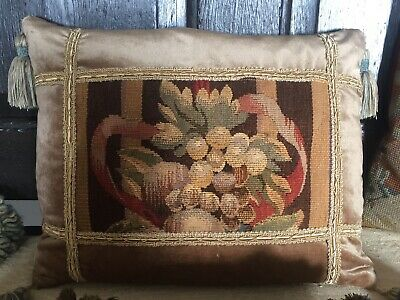 Fabulous  French Antique 18Th/19Th C. Aubusson Tapestry Fragment Cushion/Pillow