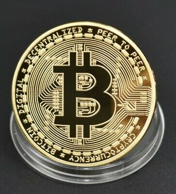 Bitcoin Cryptocurrency Collectors Gold Coin in Case - NEW, COLLECTABLE, UK