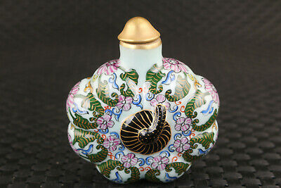 big chinese old porcelain hand painting pumpkin snuff bottle