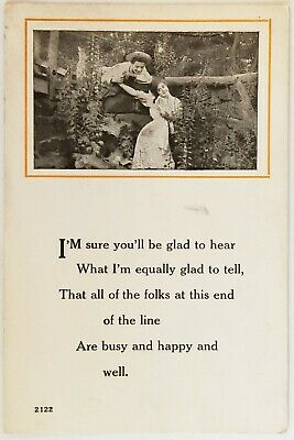 I'm Sure You'll Be Glad To Hear What Uwchland Pennsylvania Poem Postcard antique