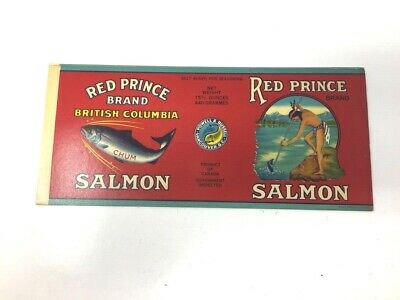ENGLAND GENUINE TIN CAN LABEL VINTAGE SALMON GREAT CHIEF AMERICAN INDIAN U.K