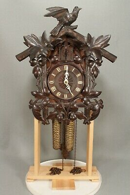 Working Antique Bird And Vine Design Wood Plate Wall Cuckoo Clock. Possibly Beha