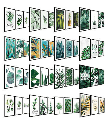 A3 Set of 3 Botanical Prints Leaf Photo Pictures Wall Art Palm Leaves with Frame